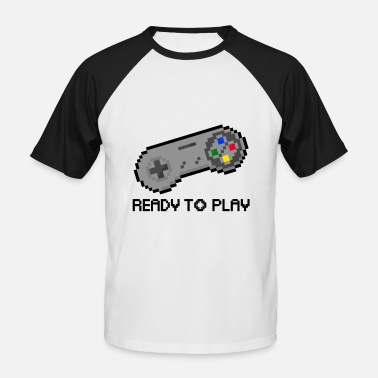 Pixelart Ready to Play - Männer Baseball-T-Shirt