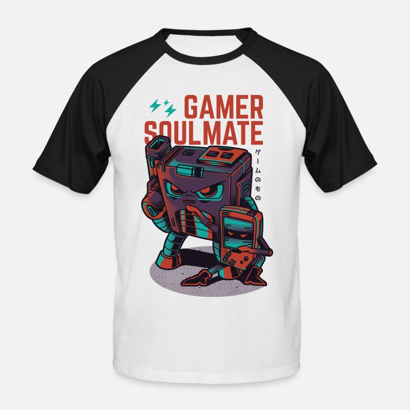 Nerd T-Shirts - Gamer Soulmate - Men's Baseball T-Shirt white/black