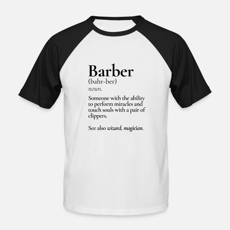 Shopping T-shirts - Barber Definition Haircut Shop - Baseball T-shirt herr vit/svart