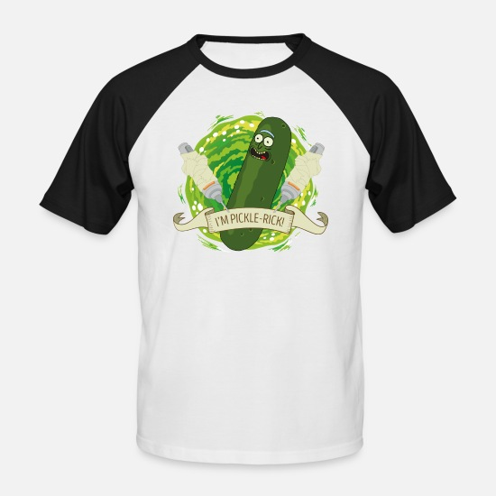 Officialbrands T-Shirts - Rick And Morty I'm Pickle-Rick Gurken-Rick - Männer Baseball T-Shirt Weiß/Schwarz