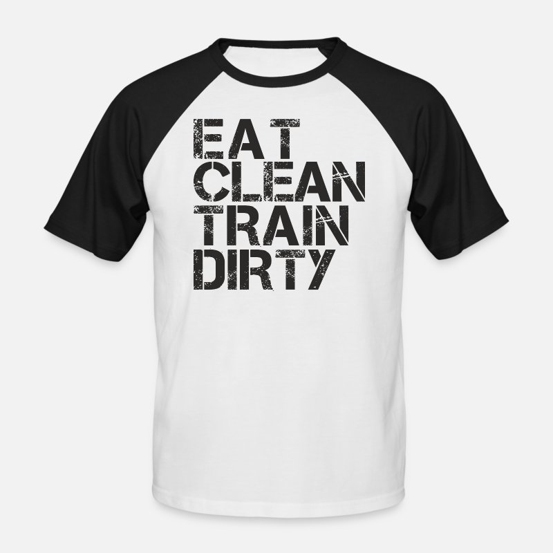 Running T-Shirts - eat clean train dirty  - Men's Baseball T-Shirt white/black