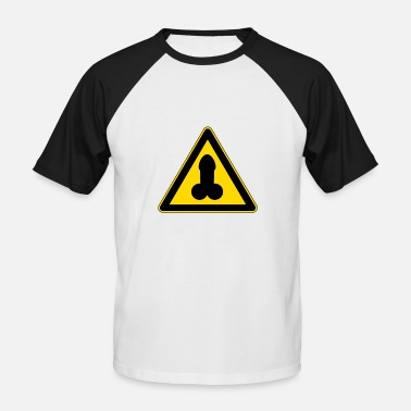 Penis Draw warning penis - Men's Baseball T-Shirt