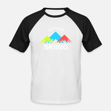 Retro Ski Lets Go Skiing | Cool retro skier design - Men's Baseball T-Shirt