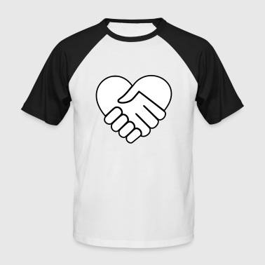 Hand On Heart Hand in hand heart white - Men's Baseball T-Shirt
