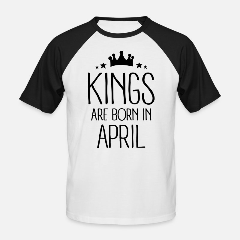 Anniversaire 18 Ans T-shirts - Kings Are Born In April - T-shirt baseball Homme blanc/noir