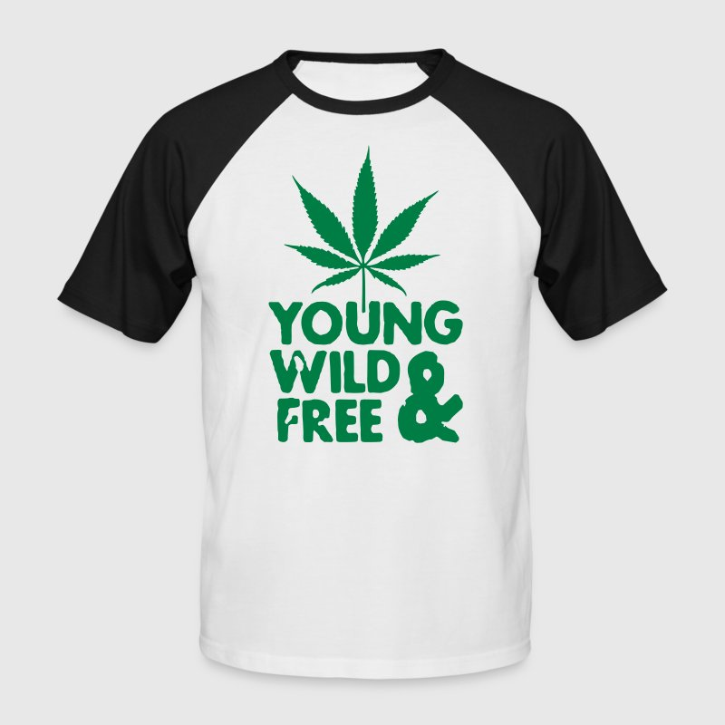 young wild and free weed leaf - Mannen baseballshirt korte mouw