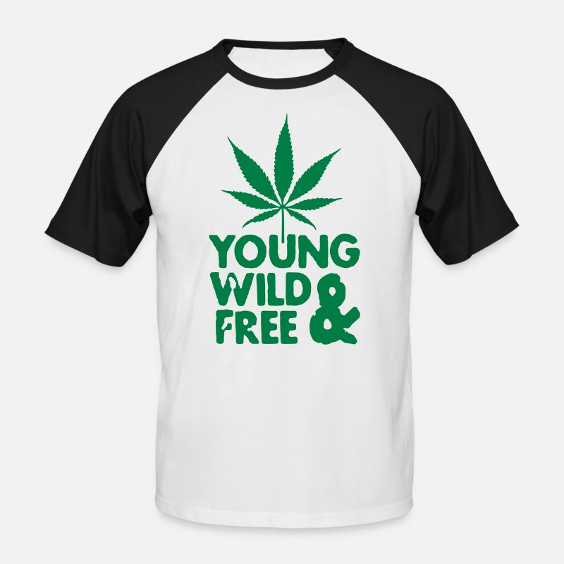 Weed T-Shirts - young wild and free weed leaf - Mannen baseball T-Shirt wit/zwart