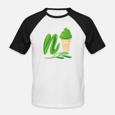 Plutonium N'ice Ice Cream Emoji with a N. Green Soft Ice - Men's Baseball T-Shirt