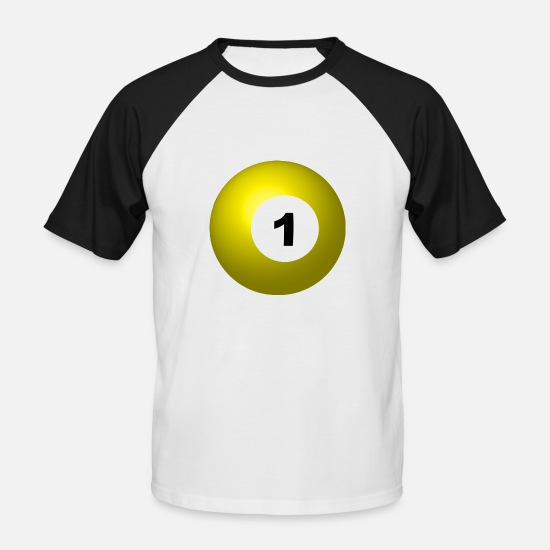 Ball T-Shirts - pool billards billiards snooker queue ball sport35 - Men's Baseball T-Shirt white/black