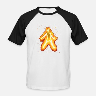 Burning Silhouette football burning - Men's Baseball T-Shirt