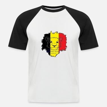 14725c22a345b Belgique Humour Lion supporter Belgique - T-shirt baseball manches courtes  Homme