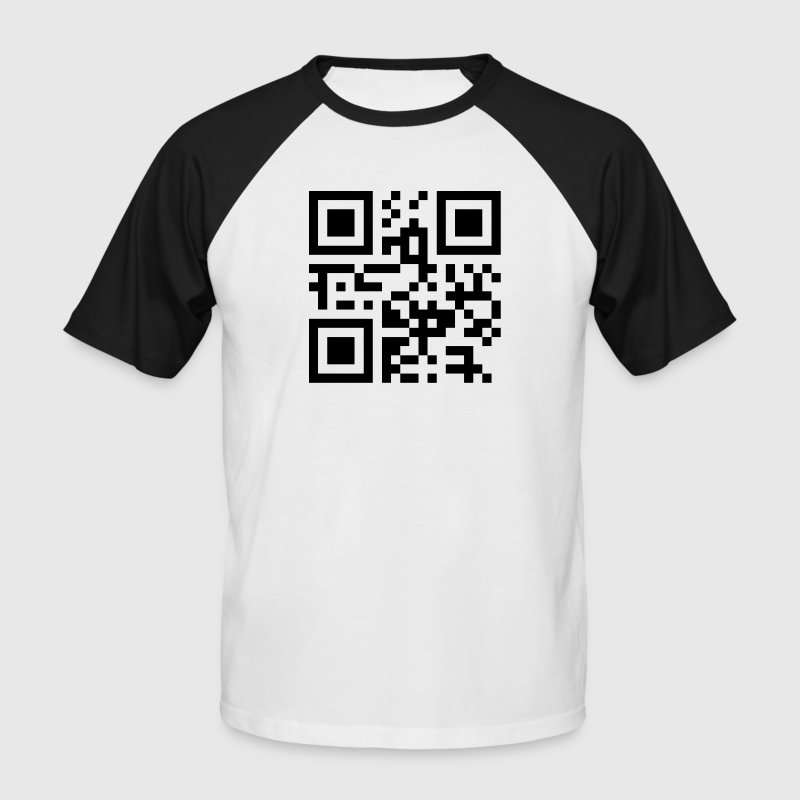 i_love_qrcode_1c - Kortermet baseball skjorte for menn