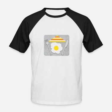 King Of Bacon Fry eggs and bacon for breakfast on the sidewalk - Men's Baseball T-Shirt