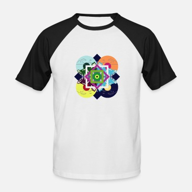 Compact Disc Vintage Colorful Nature Disc - Men's Baseball T-Shirt