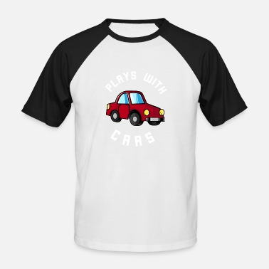 Match Play Plays with cars - Dad & Son Funny Matching - Men's Baseball T-Shirt