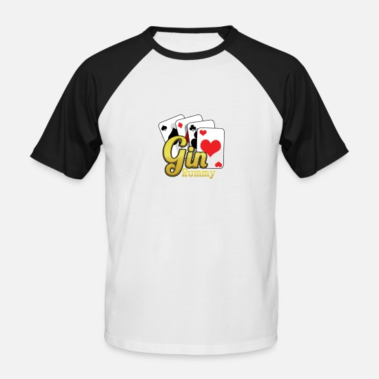 Poker T-skjorter - Gin Rummy Card Deck - Baseball T-skjorte for menn hvit/svart