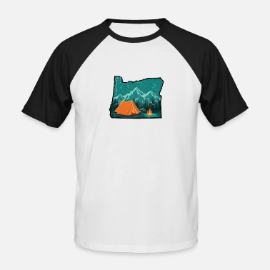Pacific Northwest Retro Distressed Oregon Outline Pacific Northwest - Men's Baseball T-Shirt