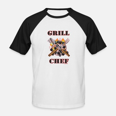 BBQ - Grill Chef - Barbecue Grill et Equipement Grill - T-shirt baseball Homme