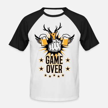 Fucking Bride And Groom 148 Game Over Mittelfinger Hirschkopf Hirsch Bier - Men's Baseball T-Shirt