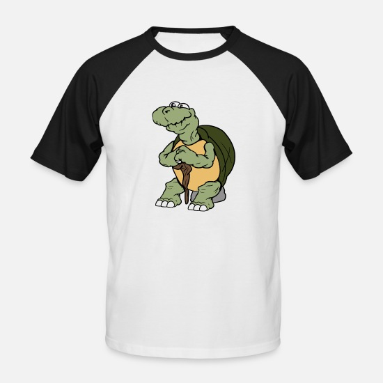 Turtle T-Shirts - Old tortoise turtles reptiles amphibian - Men's Baseball T-Shirt white/black