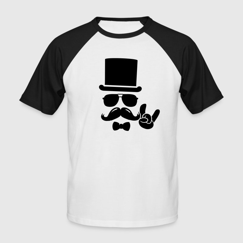 Moustache Groom boss retro hipster - Men's Baseball T-Shirt