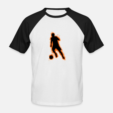 Football Outline Silhouette football orange and black outline - Men's Baseball T-Shirt