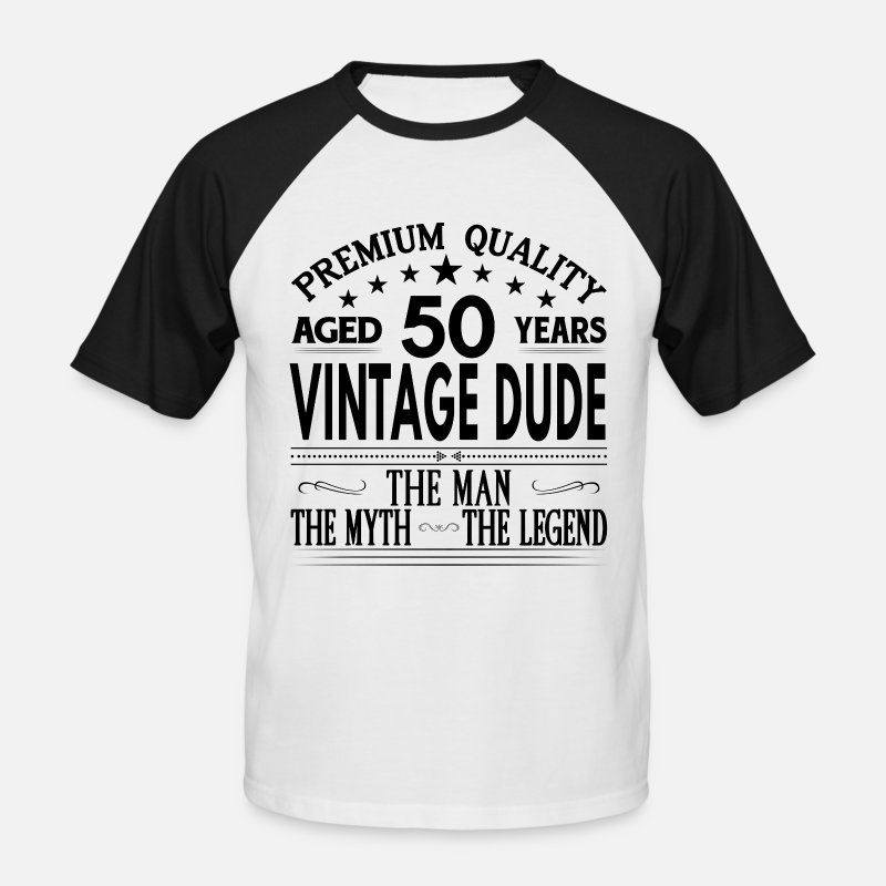 Birthday T-Shirts - VINTAGE DUDE AGED 50 YEARS - Men's Baseball T-Shirt white/black