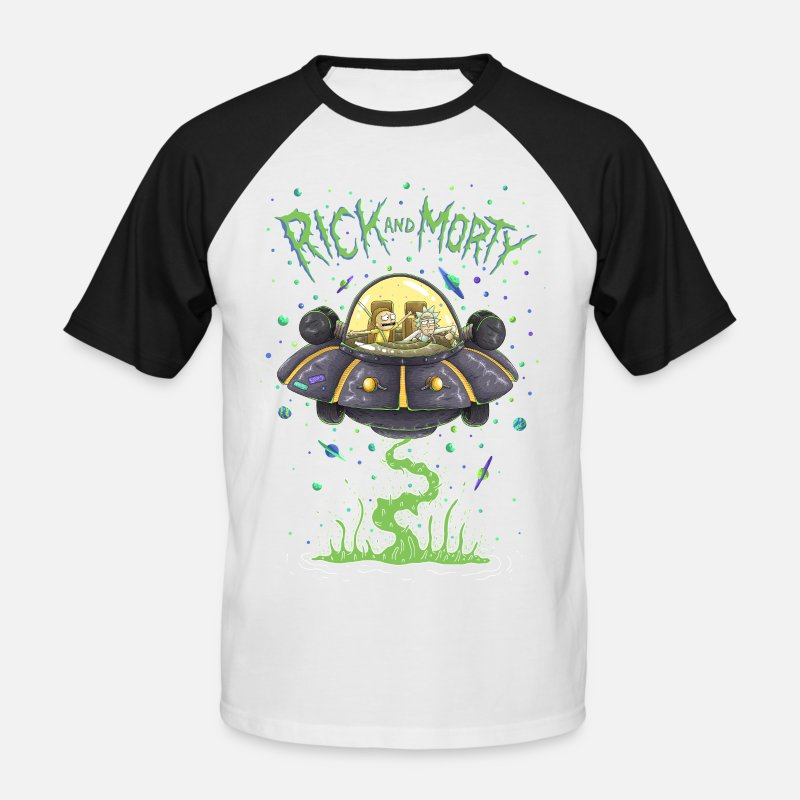 Dier T-Shirts - Rick And Morty Spaceship Illustration - Mannen baseball T-Shirt wit/zwart