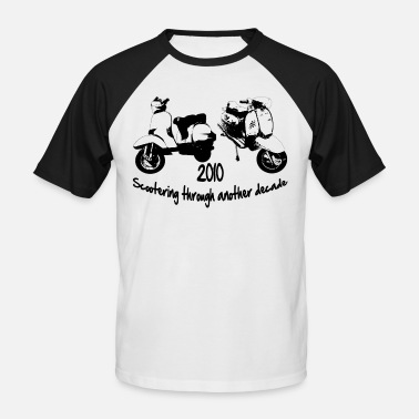 Lambretta scootering through - Men's Baseball T-Shirt