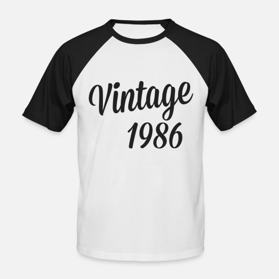 Birthday T-shirts - vintage 1986 - Mannen baseball T-Shirt wit/zwart