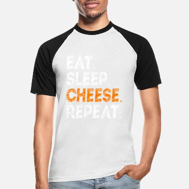 eat sleep cheese repeat cheese lover gift idea - Men's Baseball T-Shirt