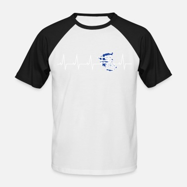 Greece I love Greece - heartbeat - Men's Baseball T-Shirt