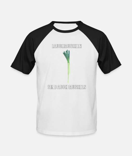 Muscleman T-Shirts - Allium muscles are also muscles - Men's Baseball T-Shirt white/black