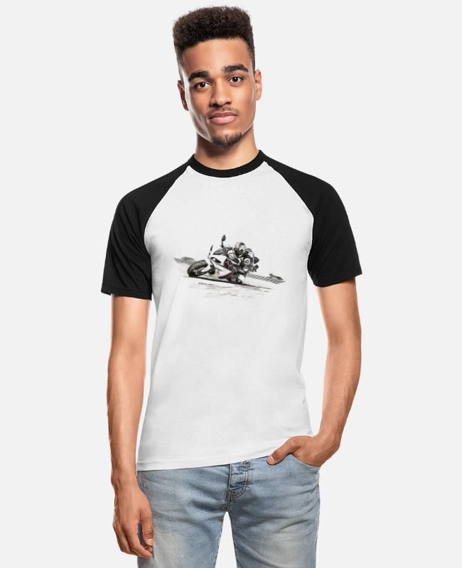 Speed T-Shirts - motorcycle - Men's Baseball T-Shirt white/black