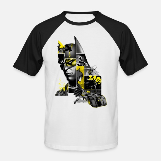 Batman T-shirts - Batman 80 Years Action Batmobil - Mannen baseball T-Shirt wit/zwart
