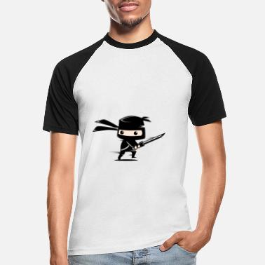 cute black ninja - Männer Baseball T-Shirt