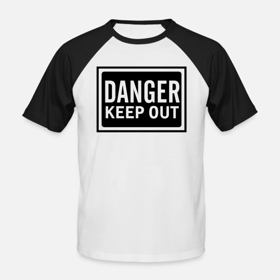 Fackla T-shirts - sign danger keep out - Baseball T-shirt herr vit/svart