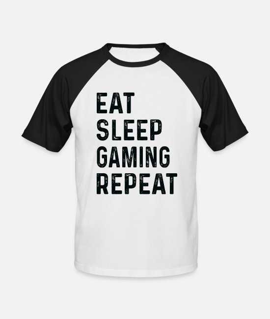 Nörd T-shirts - Ät Sleep Gaming Repeat Shirt Game Player - Baseball T-shirt herr vit/svart