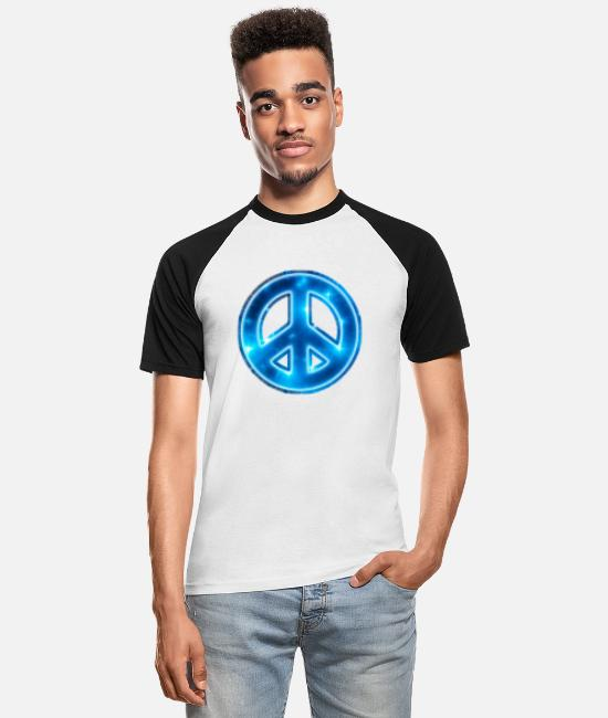 Space Peace Sign T-Shirts - Space Peace, star, galaxy, symbol, universe, free - Männer Baseball T-Shirt Weiß/Schwarz