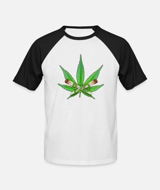 Hemp T-Shirts - Weed Leaf 420 - Men's Baseball T-Shirt white/black