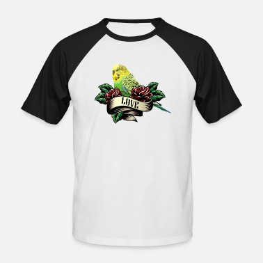 Budgie Budgerigar bird gift tattoo love parrot - Men's Baseball T-Shirt