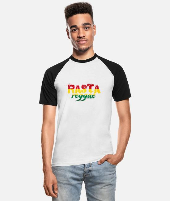 Dancehall T-Shirts - RASTA reggae - Men's Baseball T-Shirt white/black
