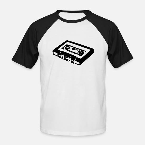 Tape T-Shirts - Audio Cassette - Men's Baseball T-Shirt white/black