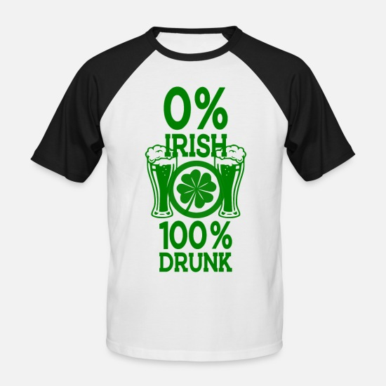 Day T-shirts - St. Patrick's Day 100% dronken - Mannen baseball T-Shirt wit/zwart