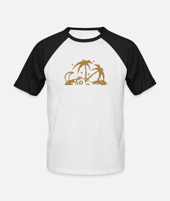 Nature T-Shirts - An island in the sea - Men's Baseball T-Shirt white/black