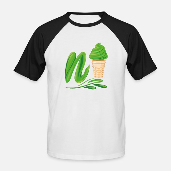 Make A Mess T-Shirts - N'ice Ice Cream Emoji with a N. Green Soft Ice - Men's Baseball T-Shirt white/black