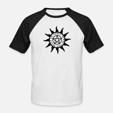 Wicca Water earth fire air ice pentagram esoteric - Men's Baseball T-Shirt