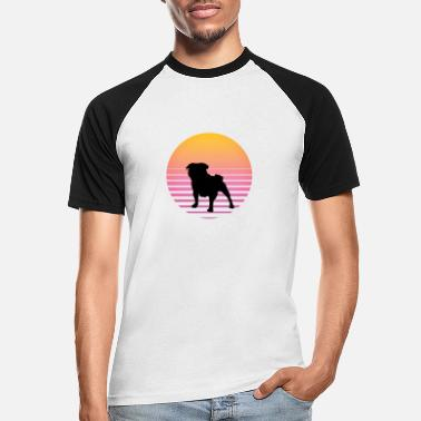 Dog Paw Dog sunset gift summer beach pug - Men's Baseball T-Shirt