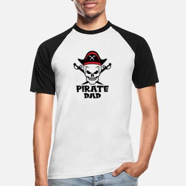 Piratenvlag Pirate Dad Skull Pirate Captain Outfit - Mannen baseball T-Shirt