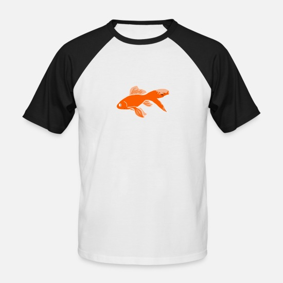 Pond T-Shirts - goldfish - Men's Baseball T-Shirt white/black
